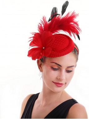 Red Feather Mesh Fascinators Hut Blume Federnetz Mesh Kentucky Derby Tea Party Kopfbedeckung mit Haarspange und Haarband für Frauen