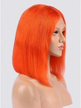 Mode Mittel Gerade Orange Bob Spitzefront Echthaar Perücke