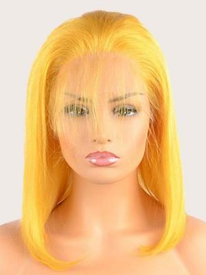 150% Dichte Gelb Bob Echthaar Perücke Mit Baby Hair
