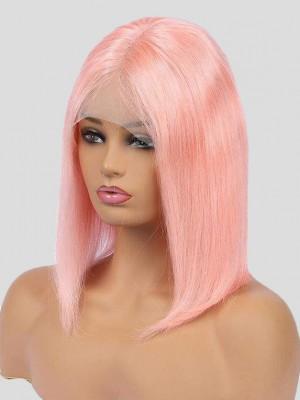 Mittel Gerade Pale Pink Bob Spitzefront Echthaar Perücke