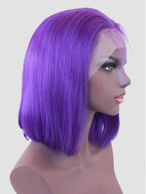 Mittel Gerade Purple Bob Spitzefront Echthaar Perücke