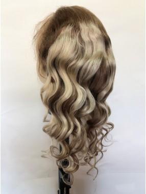 Ombre Lang Wellig Spitzefront Echthaar Perücke Mit Baby Hair