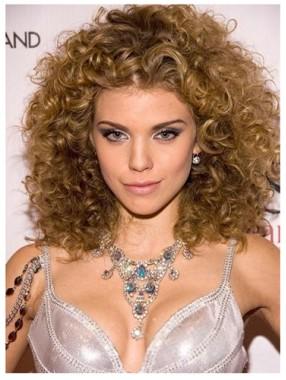 Attraktivste Medium Curly menschliche Remy Haar-Perücke