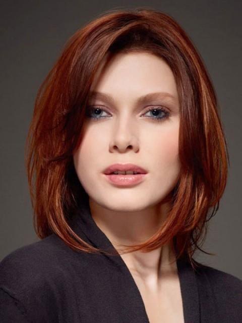 Glamour Poliert Schulter Länge Geraden Roten Bob Frisur