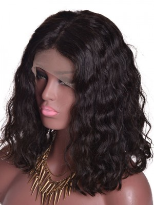 Natürliche Welle Spitzefront Menschliches Haar Perücken