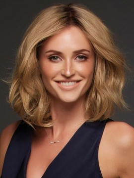Hübsche blonde gewellte mittlere Spitze-Front Remy Menschenhaar-Perücke