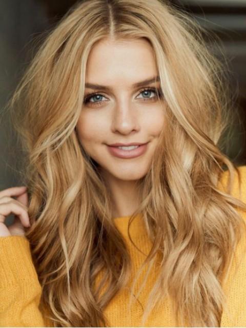 Blond Mittelscheitel Lang Wellig Kappenlos Echthaar Perücken 22 Inches