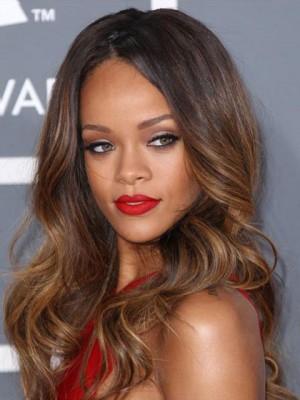 Rihanna Dip Dye Haarstil Lang Spitzen Front(Glueless Lace) Wellig Synthetik Perücke