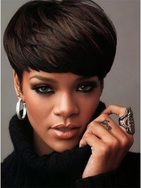 Rihanna Haarschnitt Schön Kappenlos Remy Echthaar Perücke