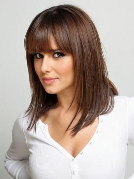Cheryl Cole'S Mittel Glatt Spitzenfront Remy Echthaar Perücken