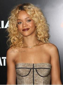 Rihanna Haarstil Mittel-Länge Locken Lace Front Remy Echthaar Perücke