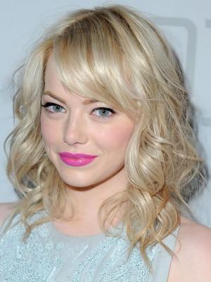 Emma Stone Mittel Curls Blond Perücken