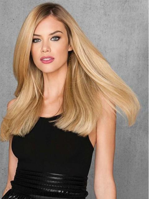 Blond Lang Gerade Spitzefront Kunsthaar Perücken Mit Seiten Pony 20 Inches